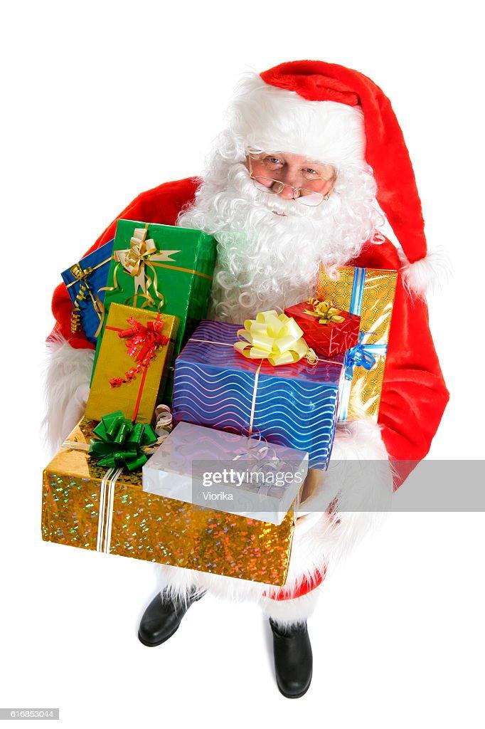 Santa with presents (on white) : Stock Photo
