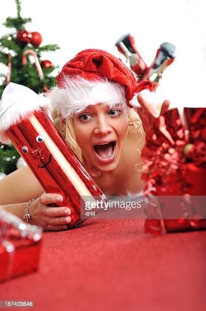 Santa Woman Cheering, Merry Christmas