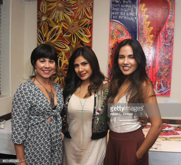 Santana Dempsey Melinna Bobadilla and Angie Sanchez attend the Vanessa E Garcia's Art Show with partial proceeds going to House of Ruth based in East...
