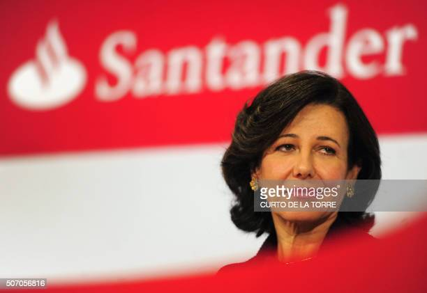 Santander Bank's president Ana Patricia Botin looks on during a press conference announcing the company's 2015 results in Boadilla de Monte near...