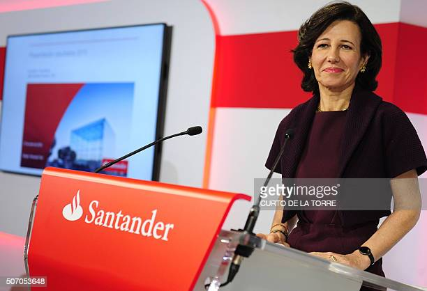 Santander Bank's president Ana Patricia Botin smiles during a press conference announcing the company's 2015 results in Boadilla de Monte near Madrid...