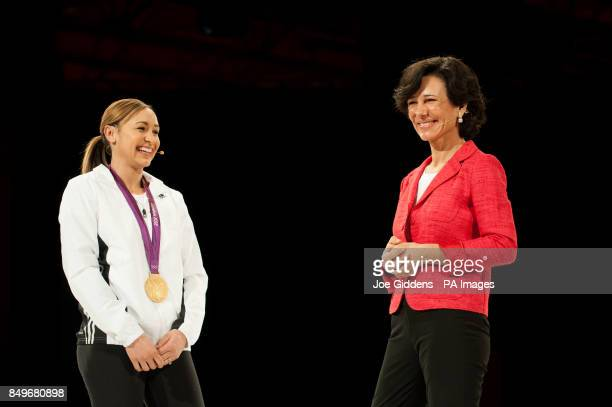 BRANDING*** Santander UK chief executive Ana Botin together with Olympics heptathlon gold medal winner Jessica Ennis Santander UK's latest brand...