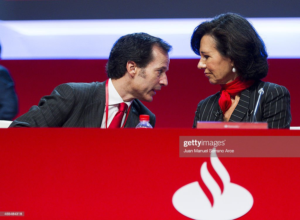 Santander's new chairwoman <a gi-track='captionPersonalityLinkClicked' href=/galleries/search?phrase=Ana+Patricia+Botin&family=editorial&specificpeople=2096349 ng-click='$event.stopPropagation()'>Ana Patricia Botin</a> speaks with Banco Santander's chief executive officer Javier Marin during an Extraordinary General Meeting (EGM) at the Palacio Exposiciones on September 15, 2014 in Santander, Spain. <a gi-track='captionPersonalityLinkClicked' href=/galleries/search?phrase=Ana+Patricia+Botin&family=editorial&specificpeople=2096349 ng-click='$event.stopPropagation()'>Ana Patricia Botin</a>, previously CEO of Santander UK, was appointed as chairwoman of the Spanish banking group on September 10, replacing her father who died suddenly of a heart attack.
