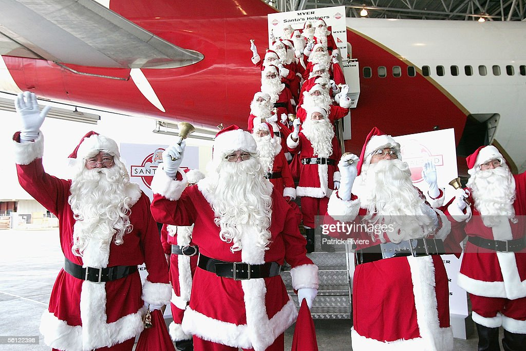 45 Santa's Helpers arrive at Sydney Airport from the North Pole November 9, 2005 in Sydney, Australia. Over 200 Santa's Helpers have graduated from the Myer Santa School and will take their place in the metropolitain suburbs this weekend. They were greeted by children from the Starlight Foundation.