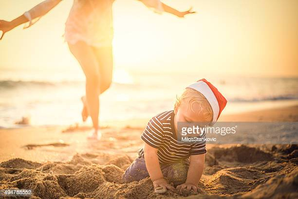 Santa's little helper at the beach