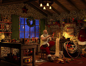 High resolution digital image of Santa working in his workshop. Image shows a physically robust Santa Claus sitting on a wooden stool, carefully painting a toy soldier, with a can of paint sitting on