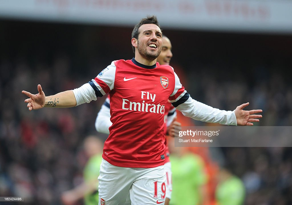 <a gi-track='captionPersonalityLinkClicked' href=/galleries/search?phrase=Santi+Cazorla&family=editorial&specificpeople=709830 ng-click='$event.stopPropagation()'>Santi Cazorla</a> celebrates scoring for Arsenal during the Barclays Premier League match between Arsenal and Aston Villa at Emirates Stadium on February 23, 2013 in London, England.
