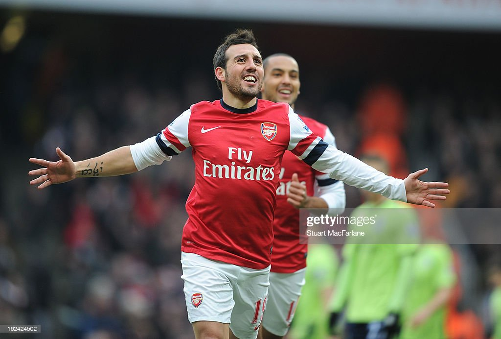Santi Cazorla celebrates scoring for Arsenal during the Barclays Premier League match between Arsenal and Aston Villa at Emirates Stadium on February 23, 2013 in London, England.