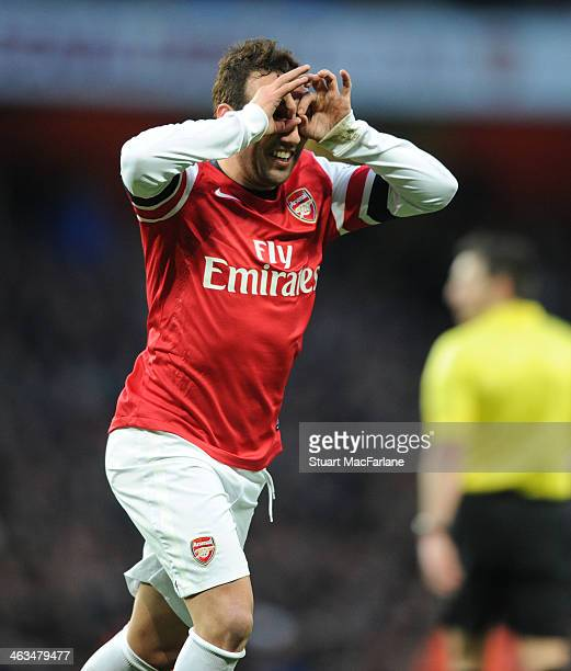 Santi Cazorla celebrates scoring the 2nd Arsenal goal during the Barclays Premier League match between Arsenal and Fulham at Emirates Stadium on...
