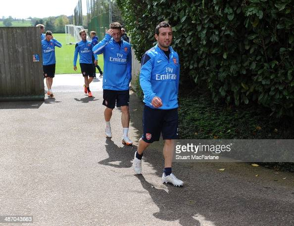 Santi Cazorla of Arsenal after a training session at London Colney on April 27 2014 in St Albans England