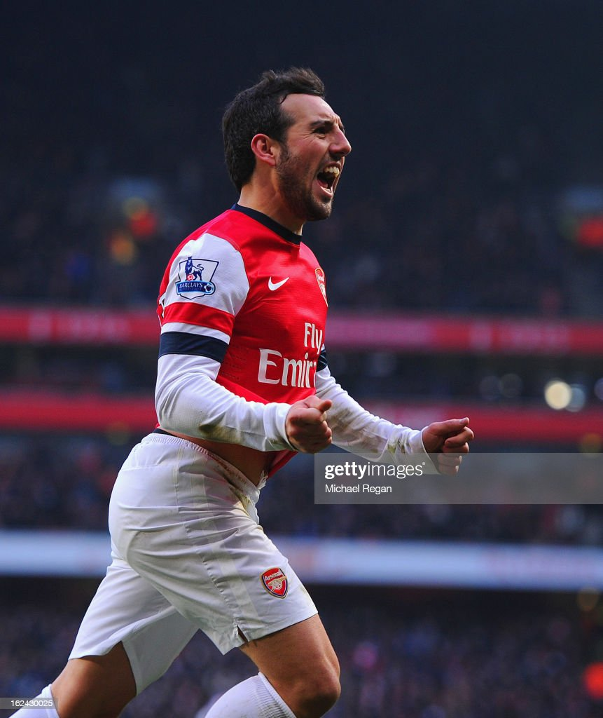Santi Cazorla of Arsenal celebrates scoring to make it 2-1 during the Barclays Premier League match between Arsenal and Aston Villa at the Emirates Stadium on February 23, 2013 in London, England.