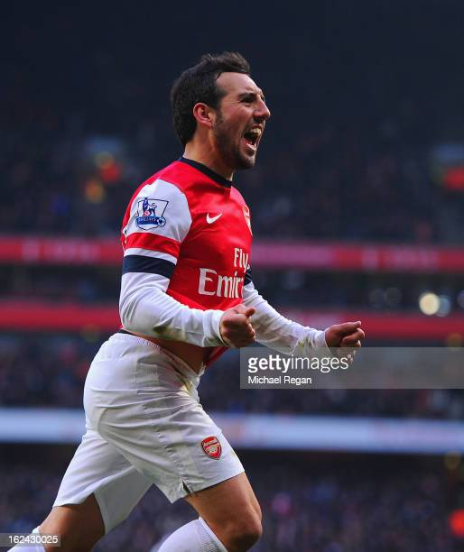 Santi Cazorla of Arsenal celebrates scoring to make it 21 during the Barclays Premier League match between Arsenal and Aston Villa at the Emirates...