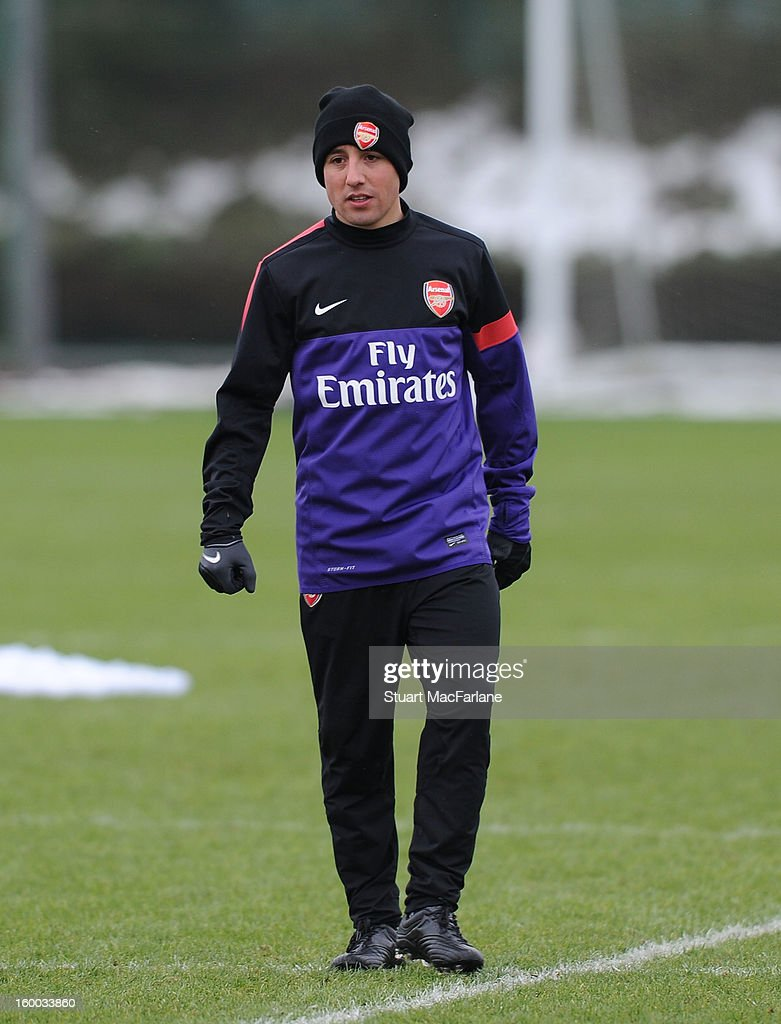 Santi Cazorla of Arsenal during a training session at London Colney on January 25, 2013 in St Albans, England.