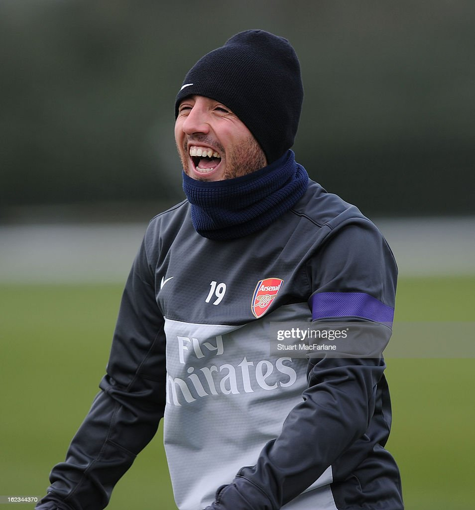 Santi Cazorla of Arsenal during a training session at London Colney on February 22, 2013 in St Albans, England.
