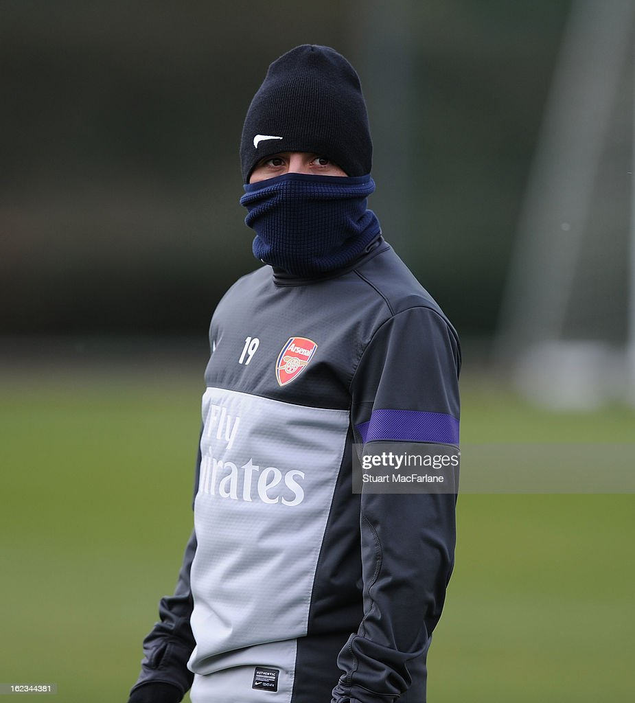 <a gi-track='captionPersonalityLinkClicked' href=/galleries/search?phrase=Santi+Cazorla&family=editorial&specificpeople=709830 ng-click='$event.stopPropagation()'>Santi Cazorla</a> of Arsenal during a training session at London Colney on February 22, 2013 in St Albans, England.