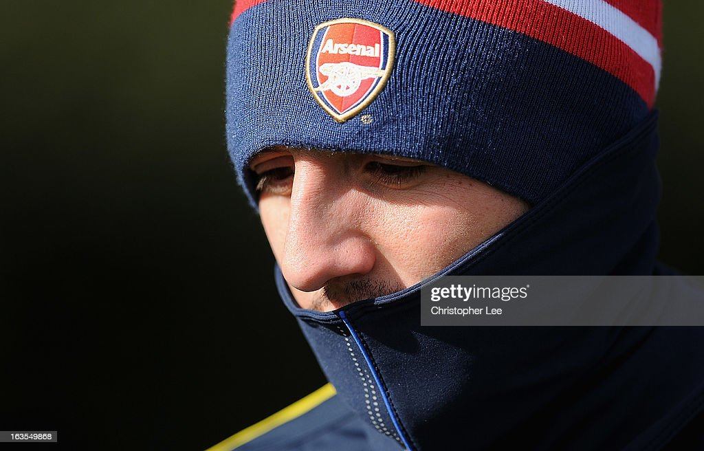 Santi Cazorla of Arsenal during a training session at London Colney on March 12, 2013 in St Albans, England.