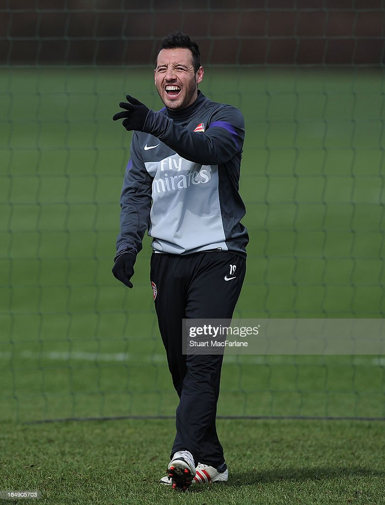 <a gi-track='captionPersonalityLinkClicked' href=/galleries/search?phrase=Santi+Cazorla&family=editorial&specificpeople=709830 ng-click='$event.stopPropagation()'>Santi Cazorla</a> of Arsenal during a training session at London Colney on March 29, 2013 in St Albans, England.