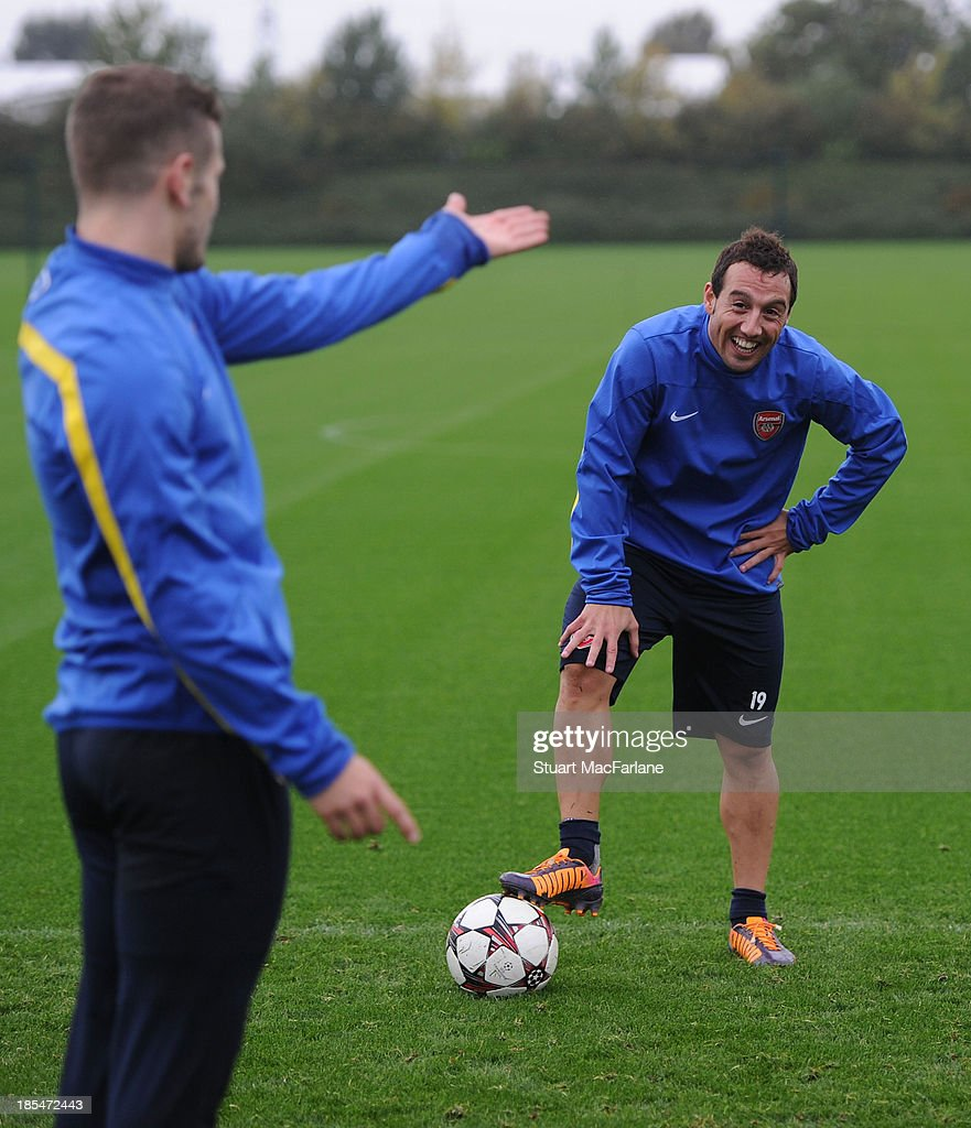 Santi Cazorla of Arsenal during a training session at London Colney on October 21, 2013 in St Albans, England.