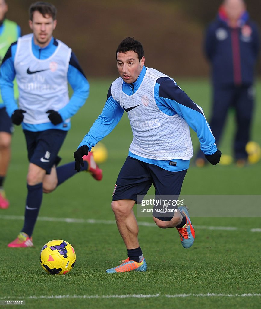 Santi Cazorla of Arsenal during a training session at London Colney on January 27, 2014 in St Albans, England.