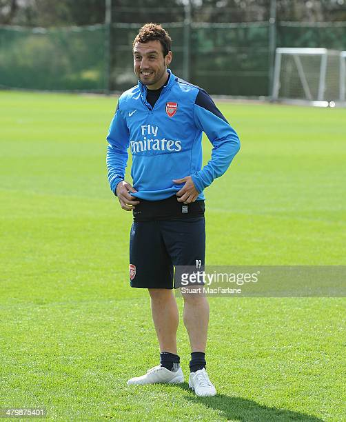 Santi Cazorla of Arsenal during a training session at London Colney on March 21 2014 in St Albans England