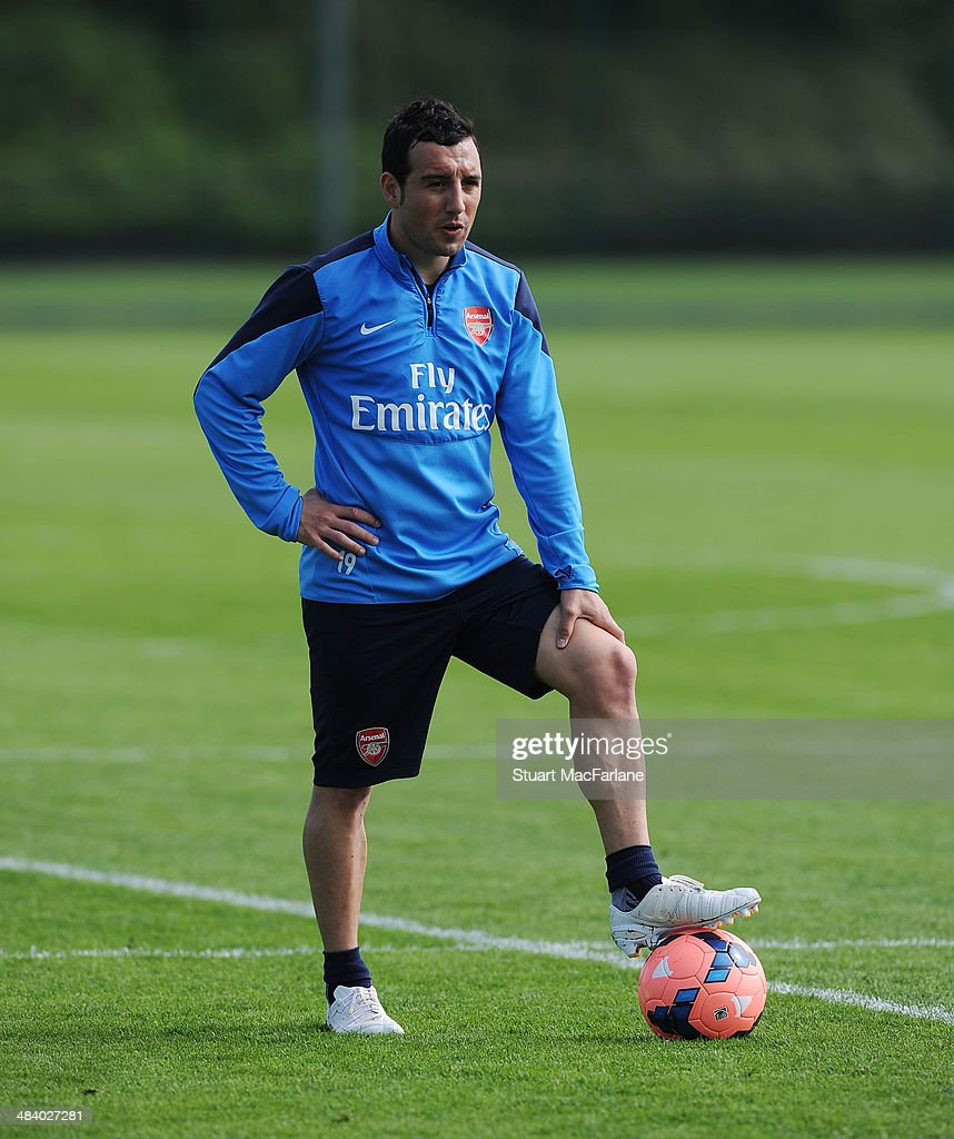 Santi Cazorla of Arsenal during a training session at London Colney on April 11, 2014 in St Albans, England.