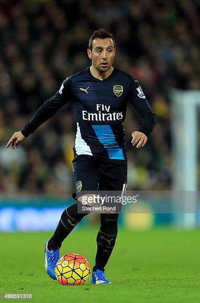 Santi Cazorla of Arsenal during the Barclays Premier League match between Norwich City and Arsenal at Carrow Road stadium on November 29 2015 in...