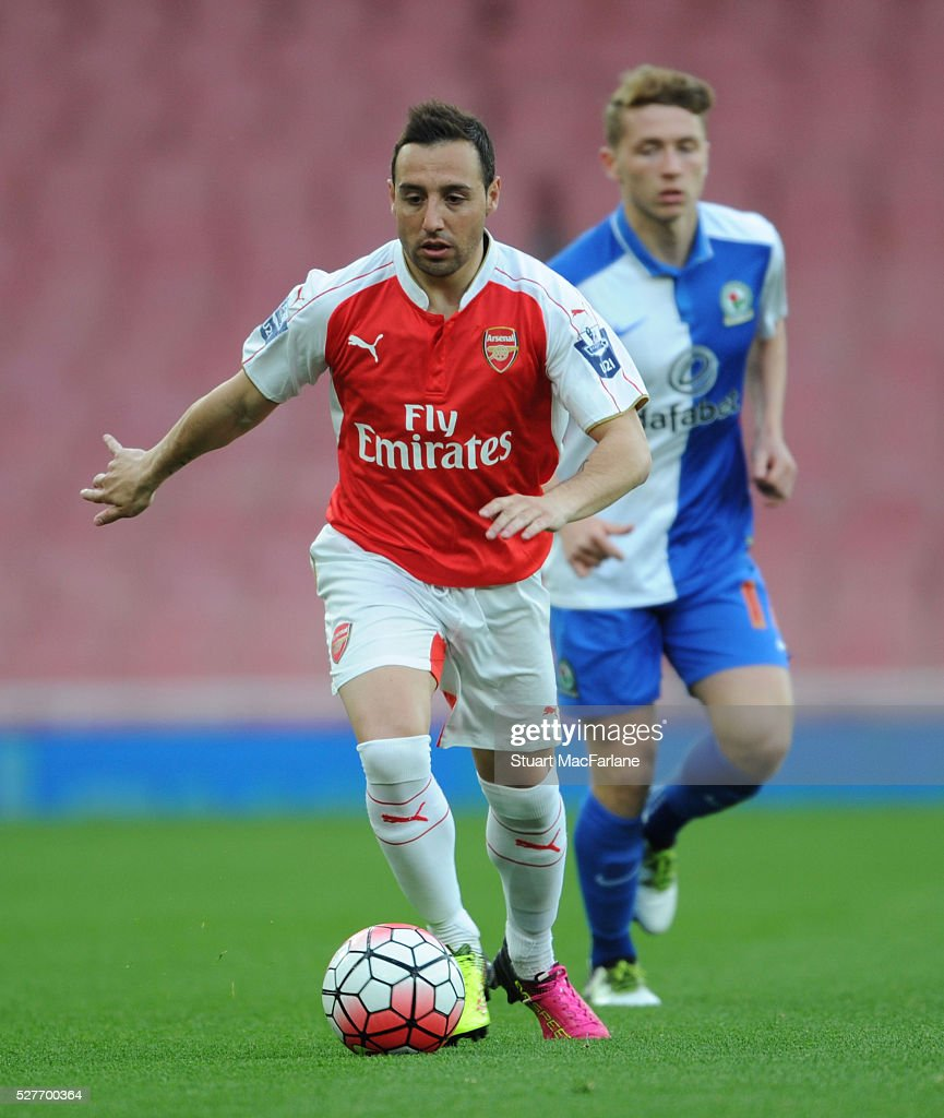 Santi Cazorla of Arsenal during the Barclays U21 Premier League match between Arsenal and Blackburn Rovers at Emirates Stadium on May 3, 2016 in London, England.