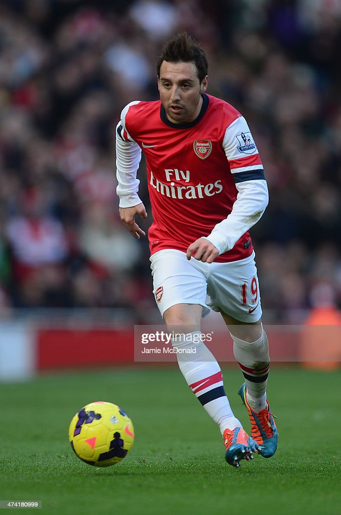 Santi Cazorla of Arsenal in action during the Barclays Premier League match between Arsenal and Sunderland at Emirates Stadium on February 22, 2014 in London, England.