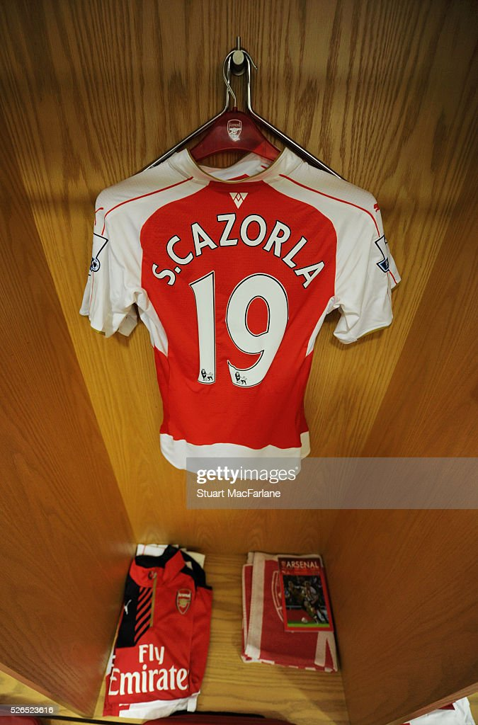 Santi Cazorla's Arsenal shirt in the changing room before the Barclays Premier League match between Arsenal and Norwich City at Emirates Stadium on April 30, 2016 in London, England.