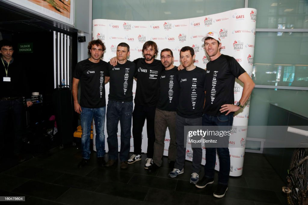 Santi Ezquerro, Santi Millan, Roberto Heras and Marc Coma attend the 'Milenio Titan Desert 2013' by Gaes on February 1, 2013 in Barcelona, Spain.