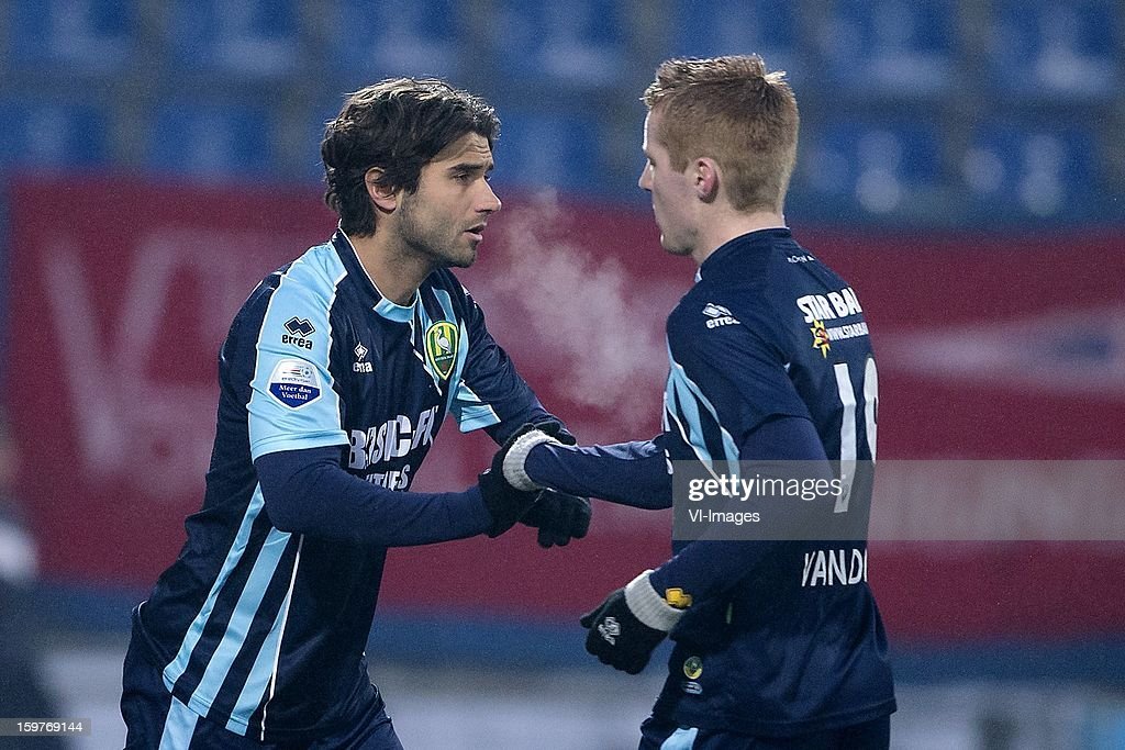 Santi Kolk of ADO Den Haag, Mike van Duinen of ADO Den Haag during the Dutch Eredivise match between Willem II and ADO Den Haag at the Koning Willem II Stadium on January 20, 2013 in Tilburg, The Netherlands.
