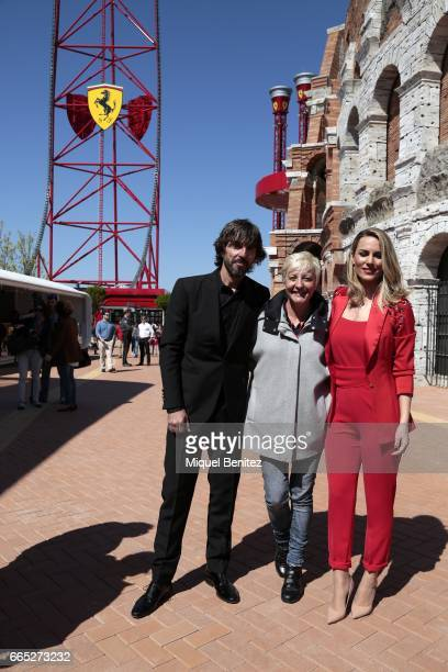 Santi Milan Eva Hache and Edurne Garcia Almagro attend the new Ferrari Land at Port Aventura World on April 6 2017 in Tarragona Spain