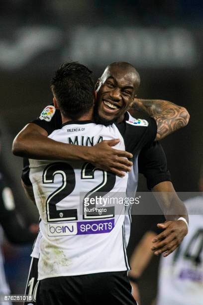 22 Santi Mina from Spain of Valencia CF celebrating his goal with 16 Kondogbia from France of Valencia CF during the match of La Liga Santander...