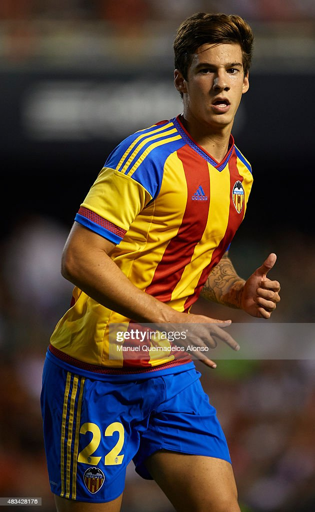 Santi Mina of Valencia looks on during the pre-season friendly match between Valencia CF and AS Roma at Estadio Mestalla on August 8, 2015 in Valencia, Spain.