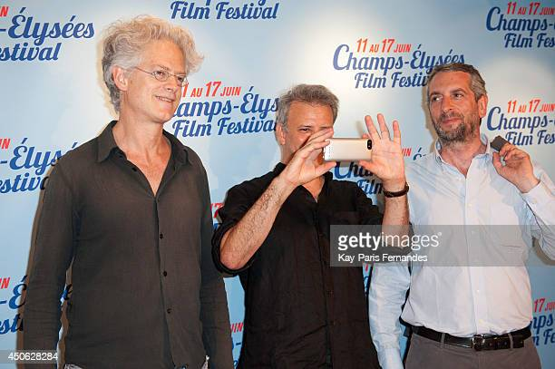 Santiago Amigorena Jonathan Nossiter and guest attend the Resistance Naturelle Paris Premiere during Day 4 of the Champs Elysees Film Festival on...
