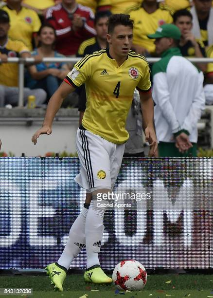 Santiago Arias of Colombia drives the ball during a match between Colombia and Brazil as part of FIFA 2018 World Cup Qualifiers at Metropolitano...