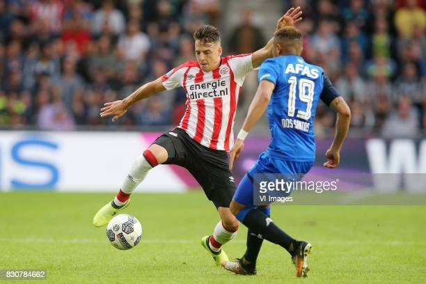 Santiago Arias of PSV Dabney dos Santos of AZ during the Dutch Eredivisie match between PSV Eindhoven and AZ Alkmaar at the Phillips stadium on...