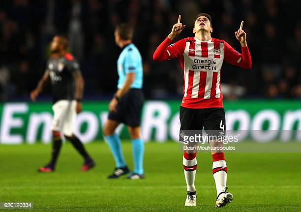 Santiago Arias of PSV Eindhoven celebrates scoring his sides first goal during the UEFA Champions League Group D match between PSV Eindhoven and FC...