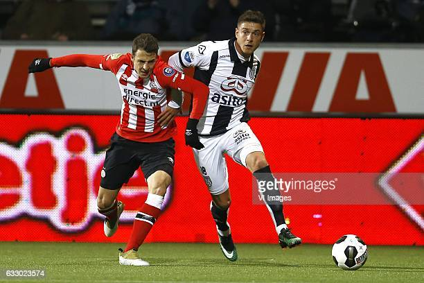 Santiago Arias of PSV Eindhoven Kristoffer Peterson of Heracles Almeloduring the Dutch Eredivisie match between Heracles Almelo and PSV Eindhoven at...