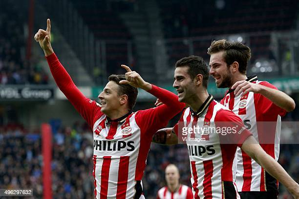 Santiago Arias of PSV Gaston Pereiro of PSV Davy Propper of PSV during the Dutch Eredivisie match between PSV Eindhoven and FC Utrecht at the...