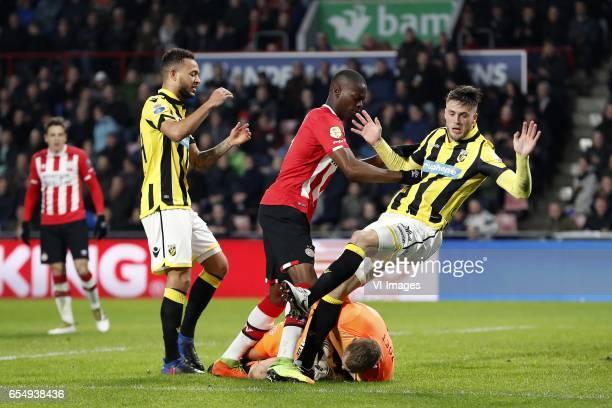 Santiago Arias of PSV Lewis Baker of Vitesse Nicolas IsimatMirin of PSV goalkeeper Jeroen Zoet of PSV Ricky van Wolfswinkel of Vitesseduring the...