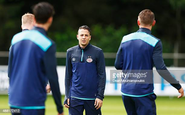 Santiago Arias of PSV looks on during the PSV Eindhoven training session held at De Herdgang on September 14 2015 in Eindhoven Netherlands PSV will...