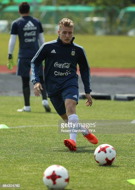 Santiago Ascacibar of Argentina kicks the ball during an Argentina training session at the Jeonju World Cup Stadium Auxiliary Field ahead of the FIFA...