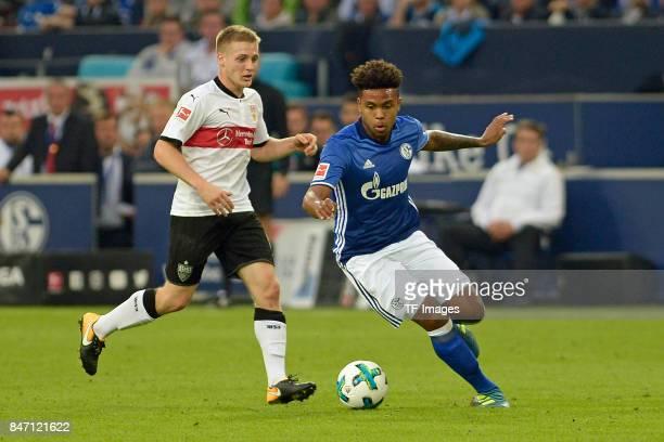Santiago Ascacibar of Stuttgart and Weston McKennie of Schalke battle for the ball during the Bundesliga match between FC Schalke 04 and VfB...