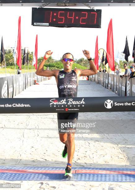 Santiago Ascenco is seen winning the Life Time Triathalon on April 2 2017 in Miami Beach Florida