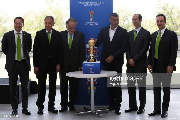 Santiago Banos Juan Carlos Osorio coach of Mexican Soccer Team Decio de Maria president of Mexican Soccer Federation Sergio Goycochea Confederations...