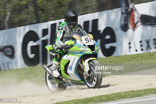 Santiago Barragan of Spain and Grillini SBK Team rides out of track during the World Superbikes Practice at Enzo Dino Ferrari Circuit on May 8 2015...