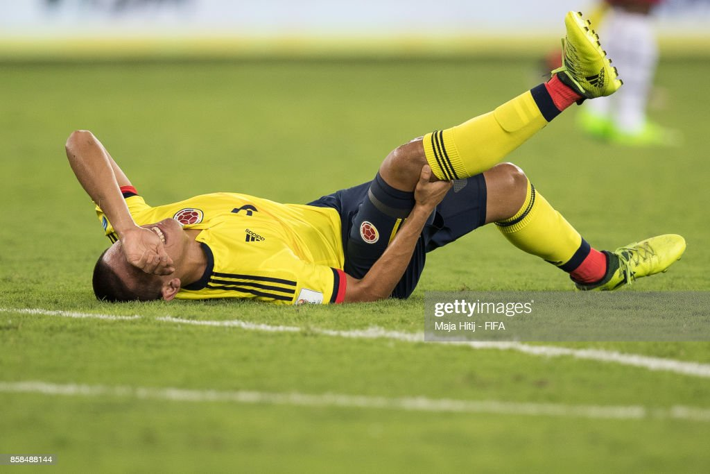 Santiago Barrero of Columbia lies injured during the FIFA U-17 World Cup India 2017 group A match between Colombia and Ghana at Jawaharlal Nehru Stadium on October 6, 2017 in New Delhi, India.