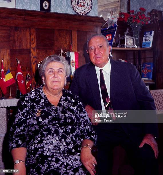 Santiago Bernabeu President of the soccer team 'Real Madrid' at home with his wife Madrid
