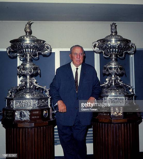 Santiago Bernabeu President of the soccer team 'Real Madrid' in the trophy room of his team with two 'European Cups' Madrid